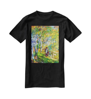 Young man in the forest of Fontainebleau by Renoir T-Shirt - Canvas Art Rocks - 1