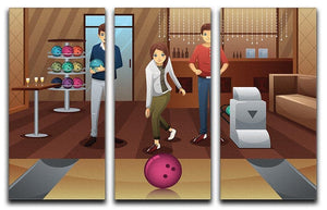 Young people playing bowling together 3 Split Panel Canvas Print - Canvas Art Rocks - 1