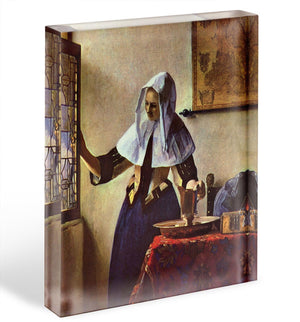 Young woman with a water jug at the window by Vermeer Acrylic Block - Canvas Art Rocks - 1