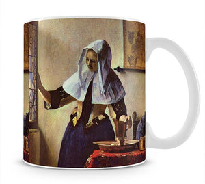 Young woman with a water jug at the window by Vermeer Mug - Canvas Art Rocks - 1