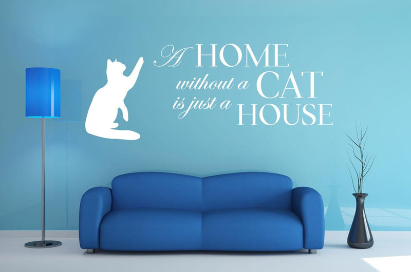 A Home Without A Cat Wall Decal - Canvas Art Rocks - 1