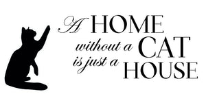 A Home Without A Cat Wall Decal - Canvas Art Rocks - 2