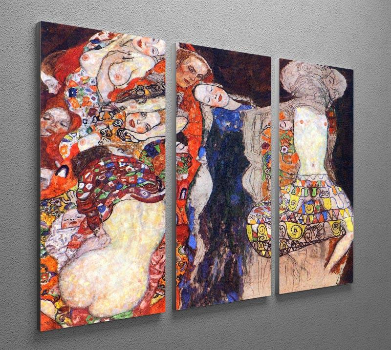adorn the bride with veil and wreath by Klimt 3 Split Panel Canvas Print - Canvas Art Rocks - 2