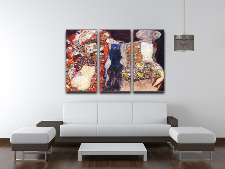 adorn the bride with veil and wreath by Klimt 3 Split Panel Canvas Print - Canvas Art Rocks - 3