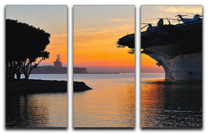 aircraft carrier in harbour in sunset 3 Split Panel Canvas Print - Canvas Art Rocks - 1