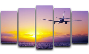 airplane in the sky over ocean 5 Split Panel Canvas  - Canvas Art Rocks - 1