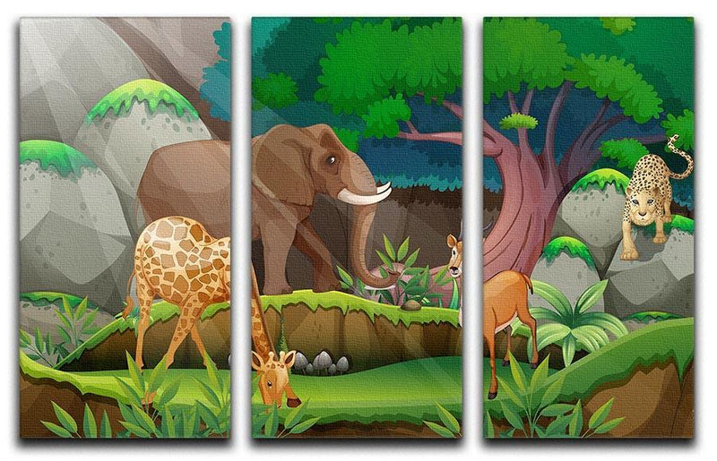 animals in the jungle 3 Split Panel Canvas Print - Canvas Art Rocks - 1