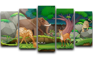 animals in the jungle 5 Split Panel Canvas  - Canvas Art Rocks - 1
