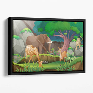 animals in the jungle Floating Framed Canvas