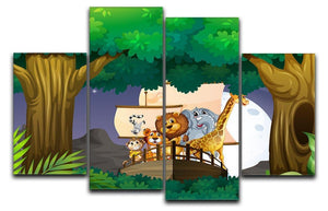 animals on boat in the jungle 4 Split Panel Canvas  - Canvas Art Rocks - 1