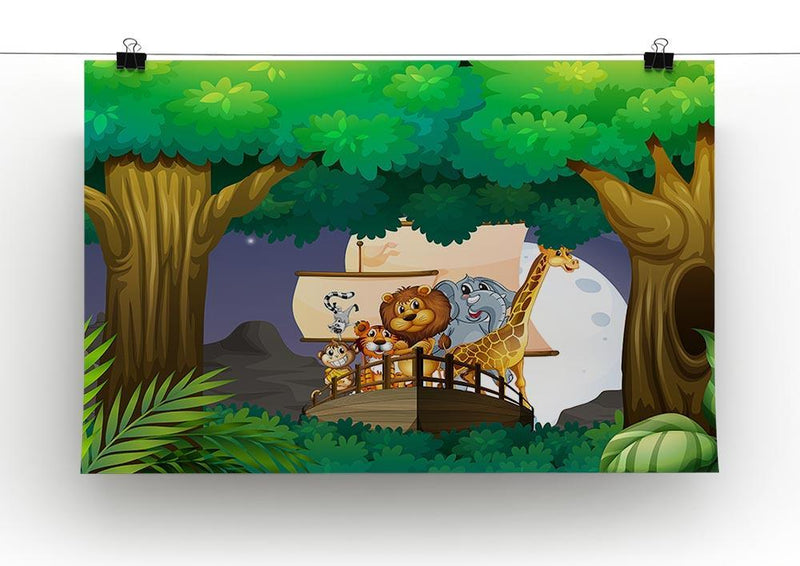 animals on boat in the jungle Canvas Print or Poster - Canvas Art Rocks - 2