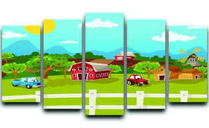 apple garden in rural landscape 5 Split Panel Canvas  - Canvas Art Rocks - 1