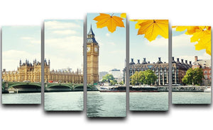 autumn leaves and Big Ben London 5 Split Panel Canvas  - Canvas Art Rocks - 1