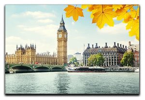 autumn leaves and Big Ben London Canvas Print or Poster  - Canvas Art Rocks - 1