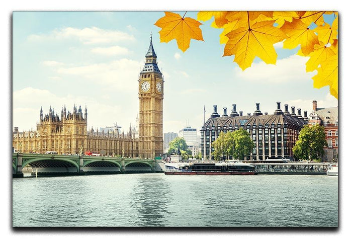 autumn leaves and Big Ben London Canvas Print or Poster
