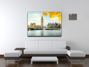 autumn leaves and Big Ben London Canvas Print or Poster - Canvas Art Rocks - 4