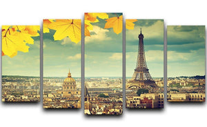 autumn leaves in Paris and Eiffel tower 5 Split Panel Canvas  - Canvas Art Rocks - 1