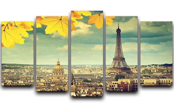 autumn leaves in Paris and Eiffel tower 5 Split Panel Canvas