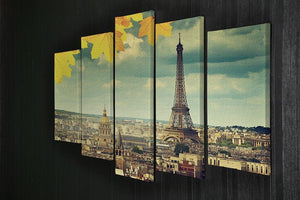autumn leaves in Paris and Eiffel tower 5 Split Panel Canvas  - Canvas Art Rocks - 2