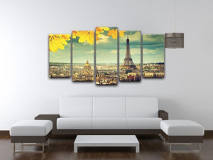 autumn leaves in Paris and Eiffel tower 5 Split Panel Canvas  - Canvas Art Rocks - 3