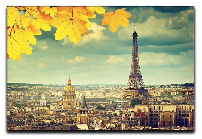 autumn leaves in Paris and Eiffel tower Canvas Print or Poster