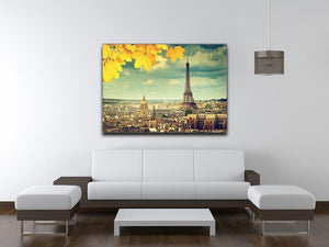 autumn leaves in Paris and Eiffel tower Canvas Print or Poster - Canvas Art Rocks - 4