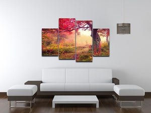 autumn trees in forest 4 Split Panel Canvas  - Canvas Art Rocks - 3