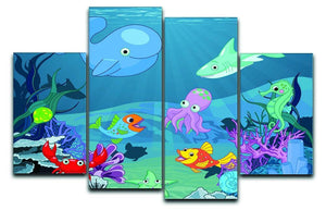 background of an underwater life 4 Split Panel Canvas  - Canvas Art Rocks - 1