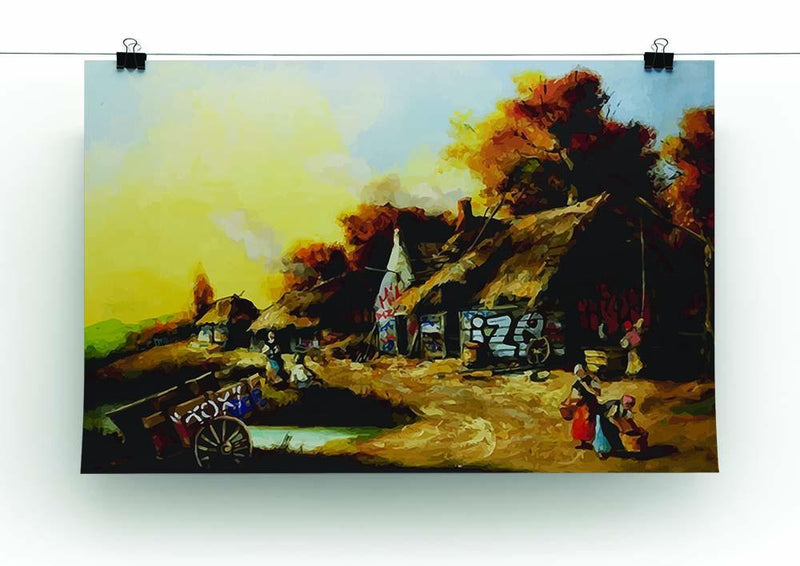 banksy Countryside Graffiti Canvas Print or Poster - Canvas Art Rocks - 2