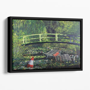 banksy Water Lilies Trash Floating Framed Canvas