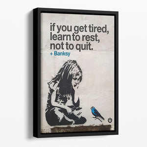 banksy if you get tired Floating Framed Canvas