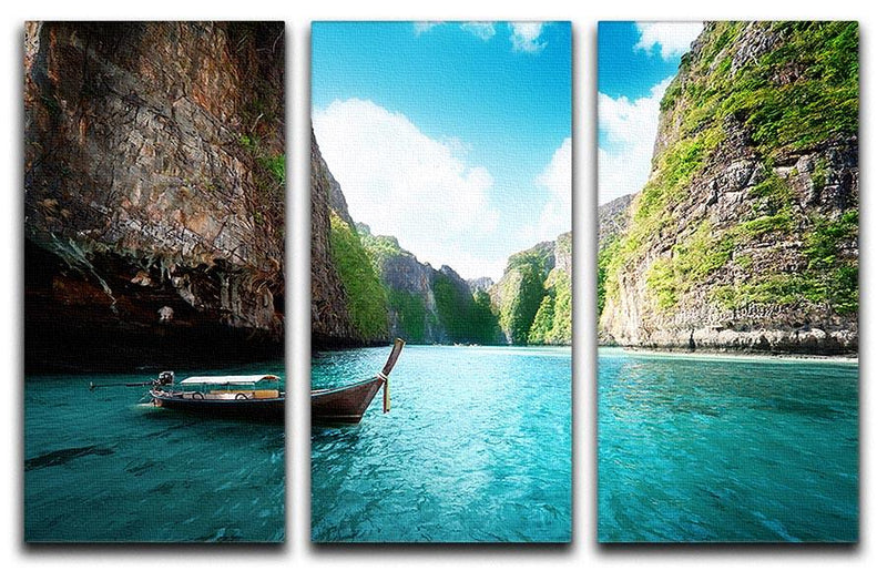 bay at Phi phi island in Thailand 3 Split Panel Canvas Print - Canvas Art Rocks - 1