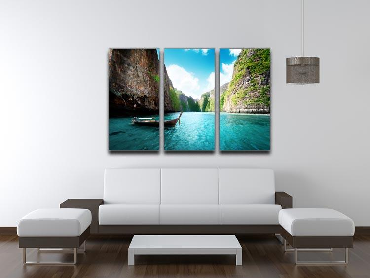 bay at Phi phi island in Thailand 3 Split Panel Canvas Print - Canvas Art Rocks - 3