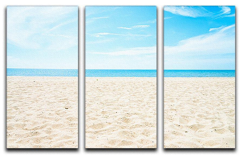 beach background with copy space 3 Split Panel Canvas Print - Canvas Art Rocks - 1