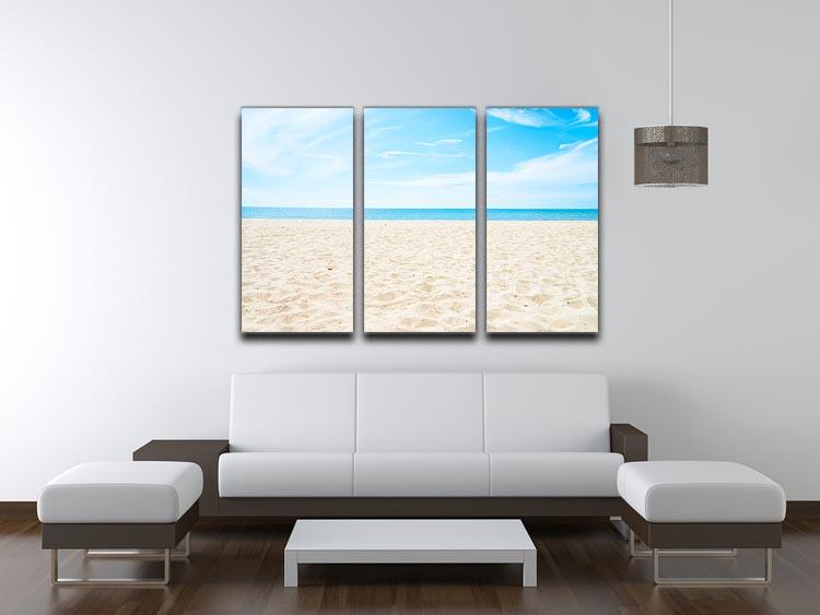 beach background with copy space 3 Split Panel Canvas Print - Canvas Art Rocks - 3
