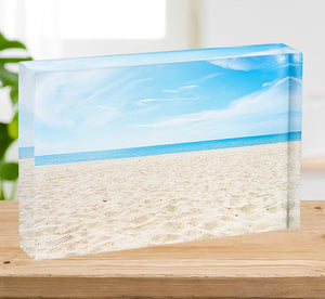 beach background with copy space Acrylic Block - Canvas Art Rocks - 2