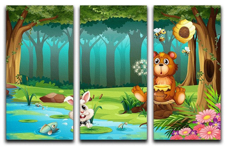 bear in a jungle 3 Split Panel Canvas Print - Canvas Art Rocks - 1