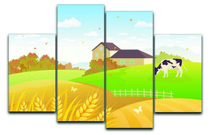 beautiful fall countryside scene with a grazing cow 4 Split Panel Canvas  - Canvas Art Rocks - 1