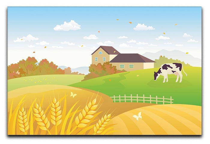 beautiful fall countryside scene with a grazing cow Canvas Print or Poster
