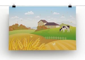 beautiful fall countryside scene with a grazing cow Canvas Print or Poster - Canvas Art Rocks - 2