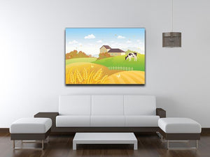 beautiful fall countryside scene with a grazing cow Canvas Print or Poster - Canvas Art Rocks - 4