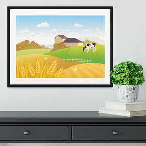 beautiful fall countryside scene with a grazing cow Framed Print - Canvas Art Rocks - 1