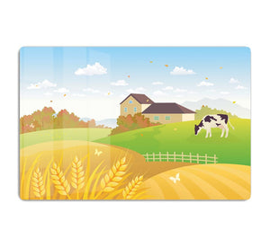 beautiful fall countryside scene with a grazing cow HD Metal Print