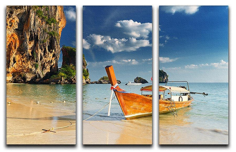 boats on Railay Beach Krabi 3 Split Panel Canvas Print - Canvas Art Rocks - 1