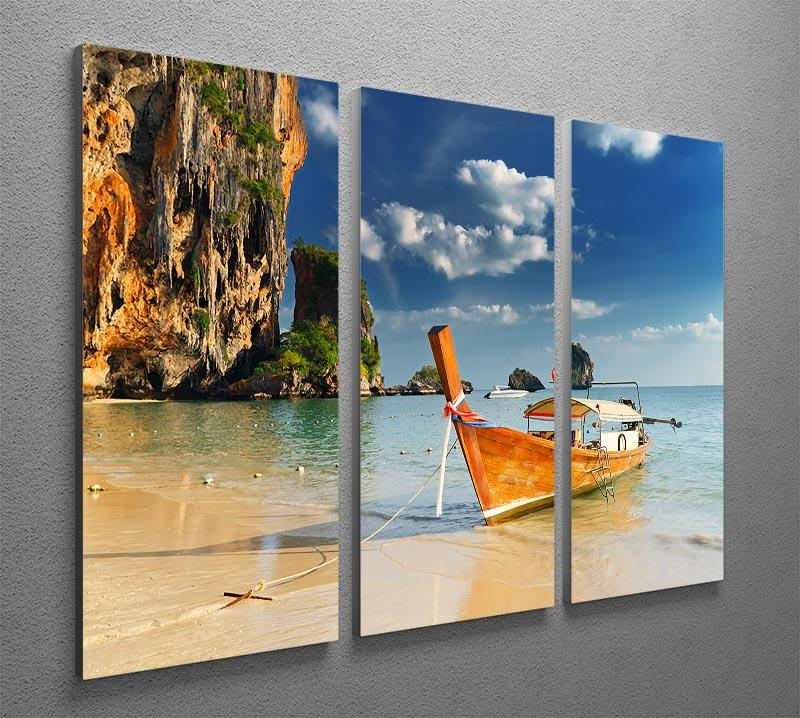 boats on Railay Beach Krabi 3 Split Panel Canvas Print - Canvas Art Rocks - 2