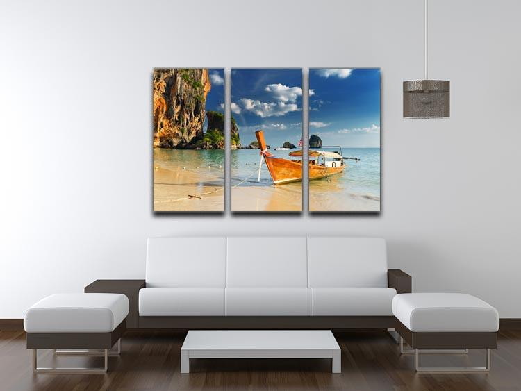 boats on Railay Beach Krabi 3 Split Panel Canvas Print - Canvas Art Rocks - 3