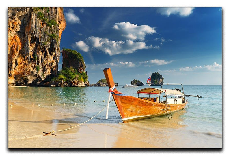 boats on Railay Beach Krabi Canvas Print or Poster  - Canvas Art Rocks - 1