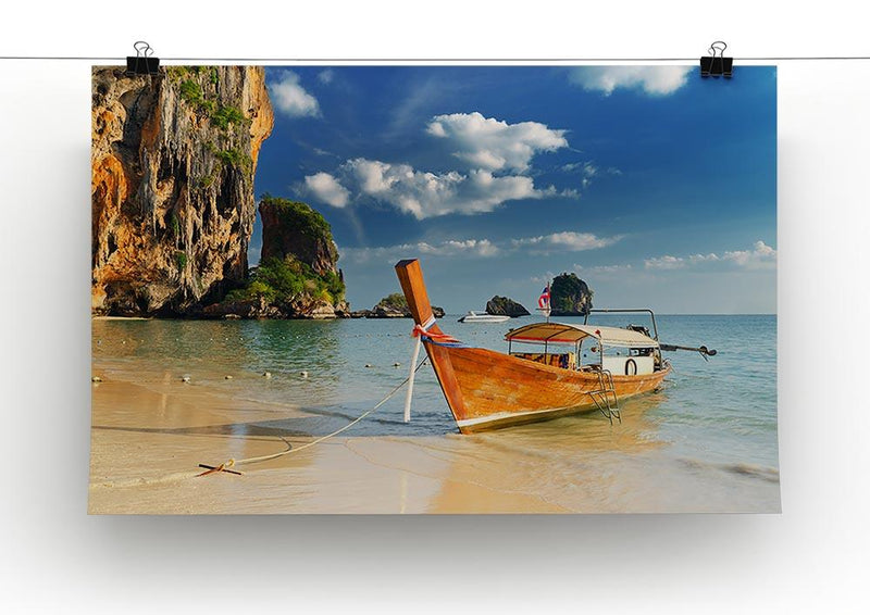 boats on Railay Beach Krabi Canvas Print or Poster - Canvas Art Rocks - 2