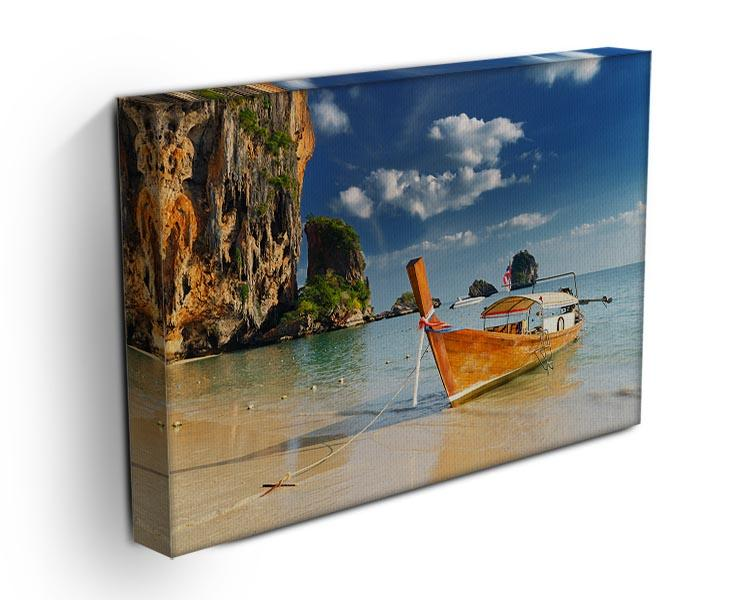 boats on Railay Beach Krabi Canvas Print or Poster - Canvas Art Rocks - 3