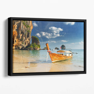 boats on Railay Beach Krabi Floating Framed Canvas